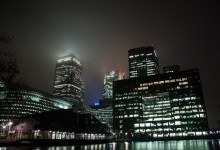 Canary wharf, London. By night.