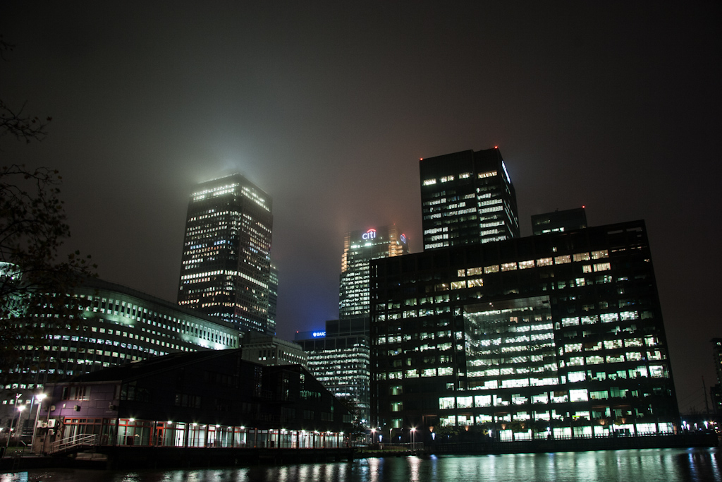 Canary wharf, London. By night.