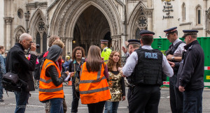 Protest on the road outside the Royal Courts of Justice