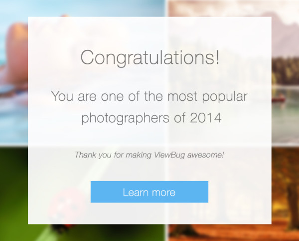 Viewbug award for one of the most popular photographers 2014 award