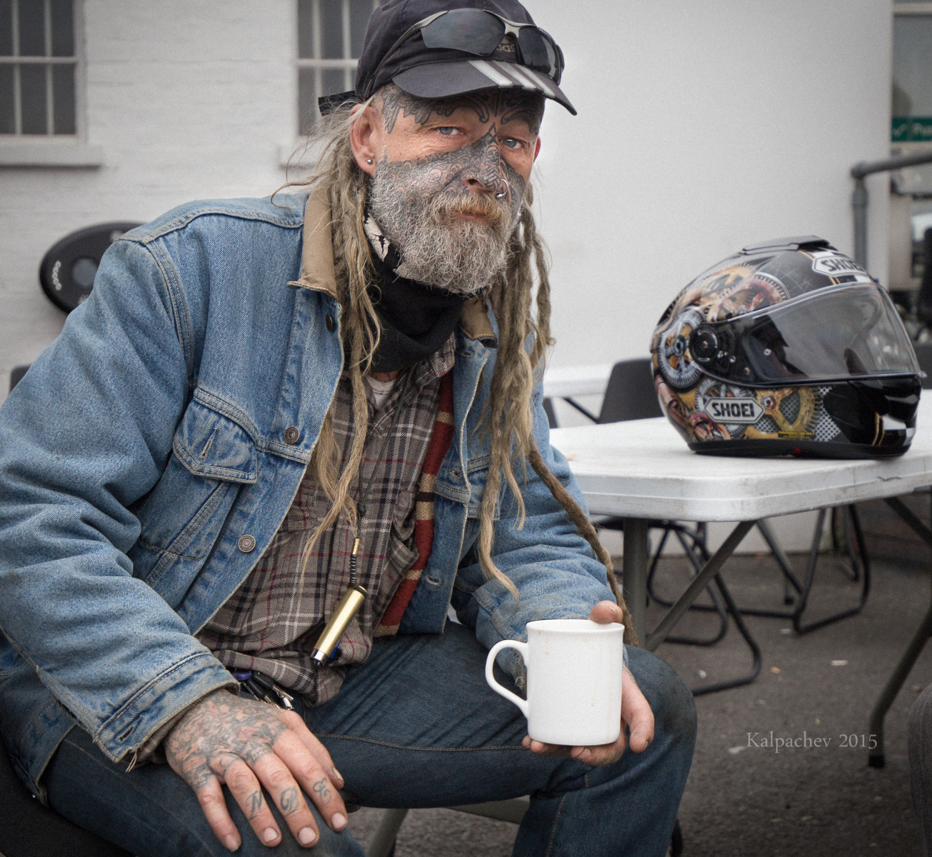 Biker at the Ace Cafe London 2015
