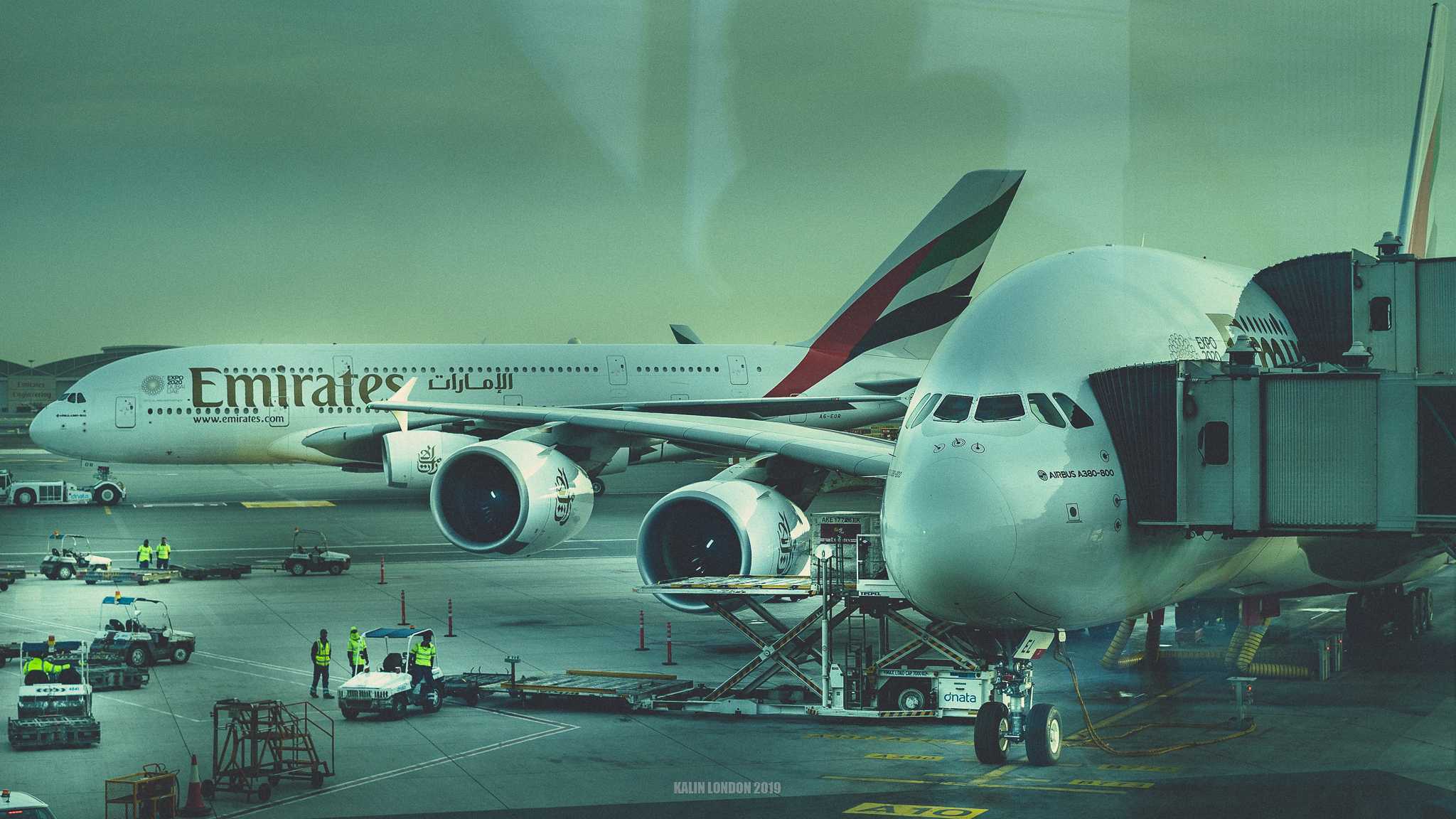 Two Airbus A380 at Dubai airport