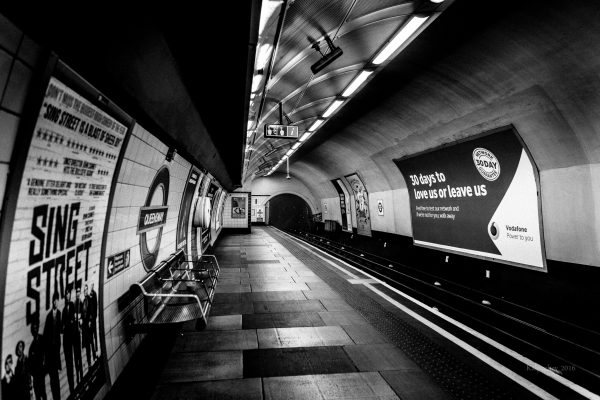 Queensway tube station. Late night